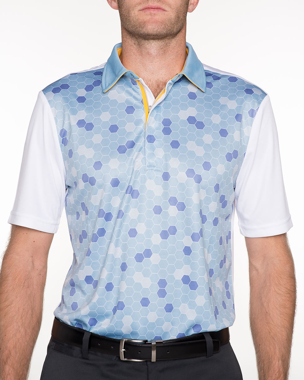 Hex print polo shirt cutthroat golf for Polo shirts for printing